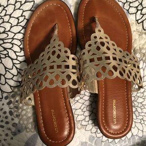 Laser Cut T Strap Sandals